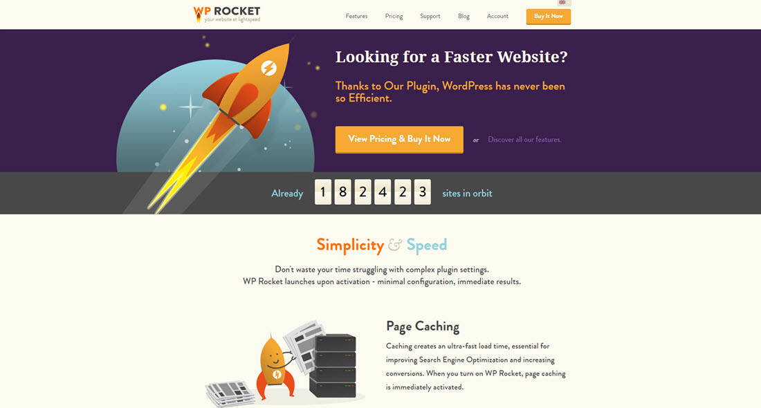 WP Rocket, website home page
